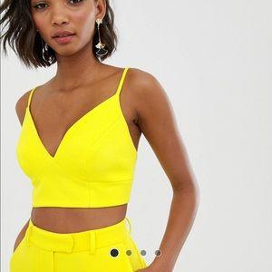 Bright yellow bralet crop top
